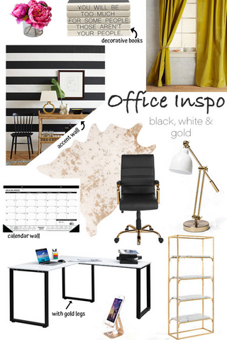 eleven collection office - black, white, and gold office decor