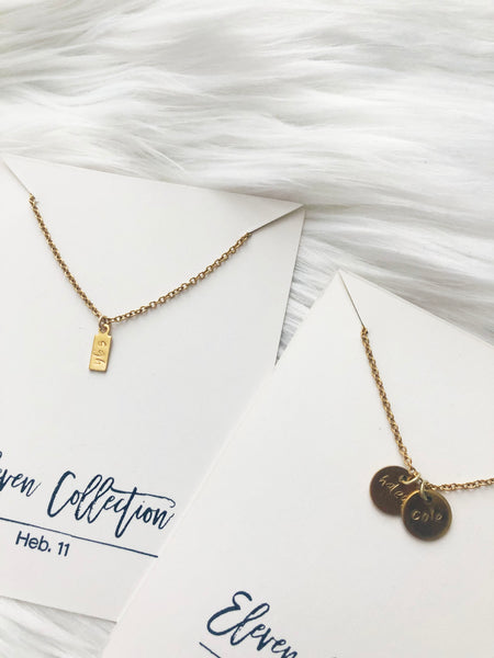 personalized custom hand stamped initial necklaces by eleven collection