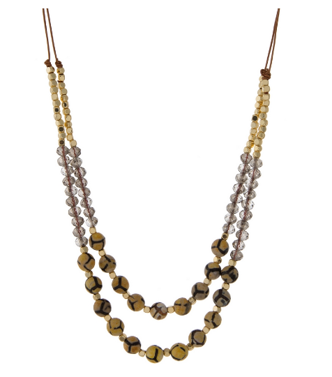 Beaded Leather Cord Layered Necklace