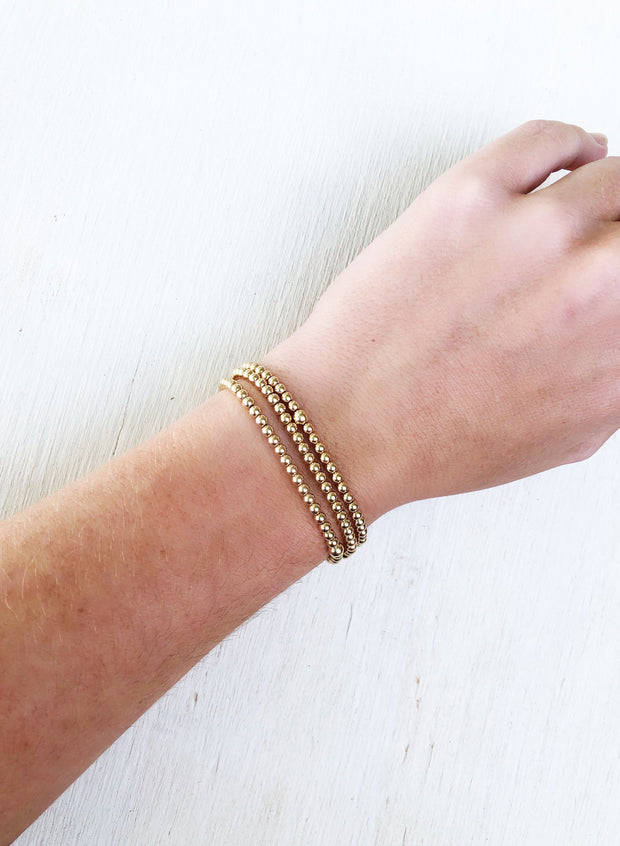 3mm gold filled beaded bracelets