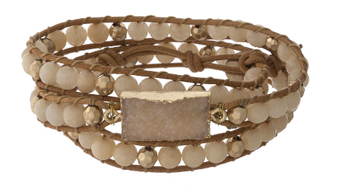 Beaded Druzy Wrap Bracelet - Eleven Collection