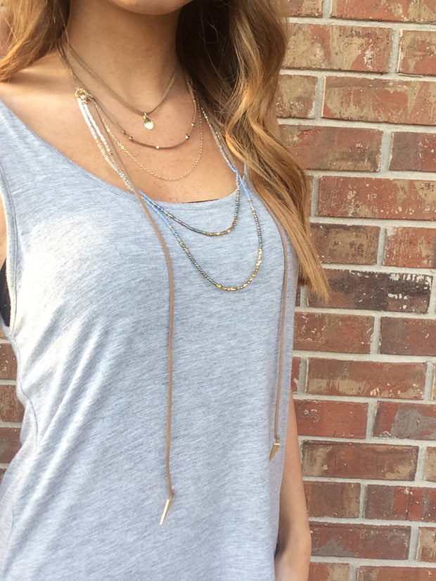 Layered Suede and Beaded Choker