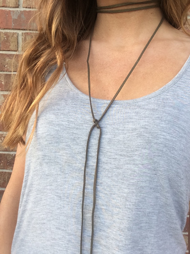 Faux Suede Wrap Around Choker - Olive