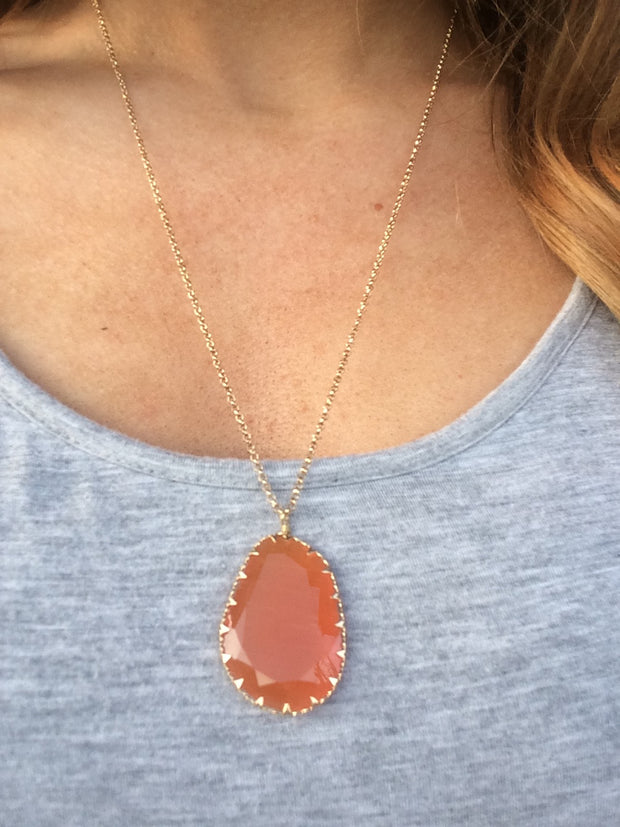 Faceted Stone Pendant Necklace