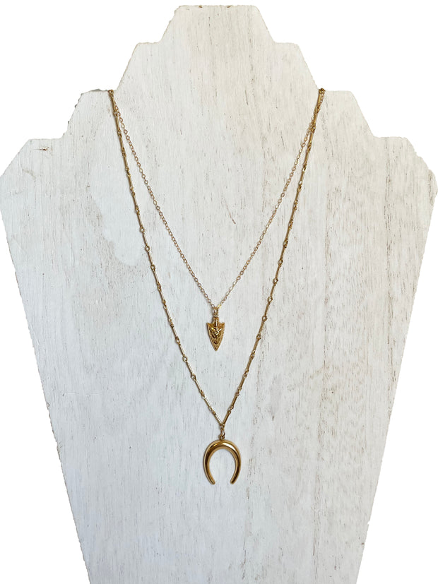 gold filled tarnish resistant jewelry - arrow necklace - crescent necklace