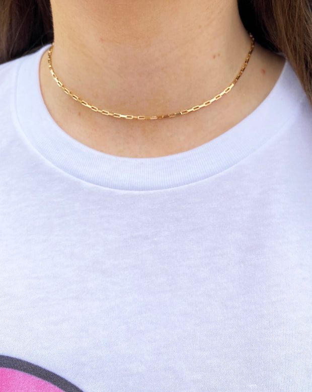 box chain choker - gold layering necklace - 16 inch gold chain necklace
