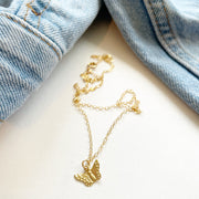 gold filled butterfly necklace