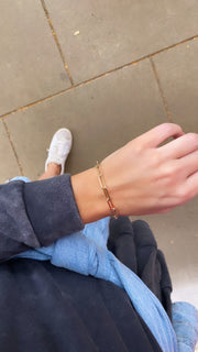gold filled paperclip chain bracelet