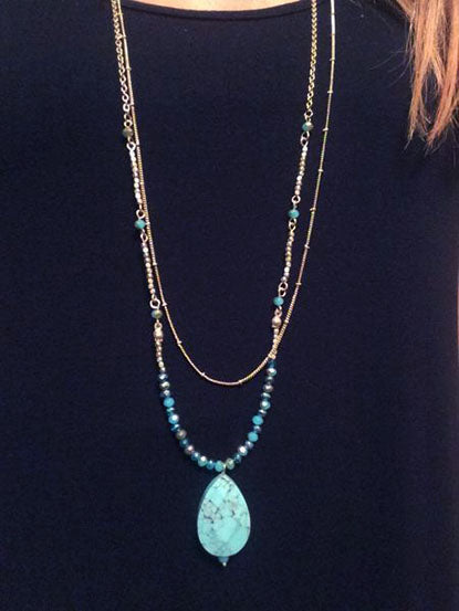 eleven collection turquoise pendant necklace