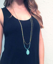 eleven collection layered turquoise pendant necklace