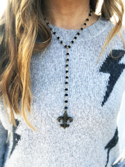 Saints - Game Day Y Necklace - Black