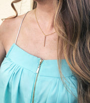 gold bar necklace - best quality gold jewelry - layered necklaces