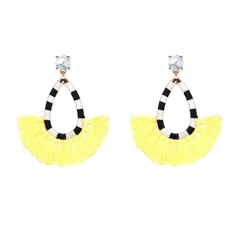 Eleven Collection Yellow Tassel Earrings