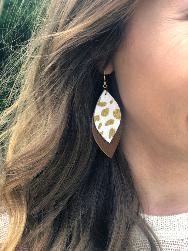 Leopard Leather Earrings