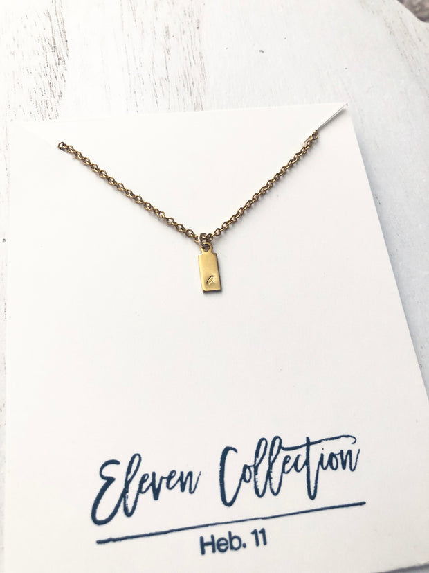 Custom - Initial Charm Necklace - Rectangle