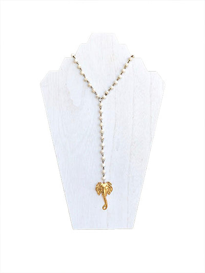 Elephant - Tailgate O'Clock Necklace - White