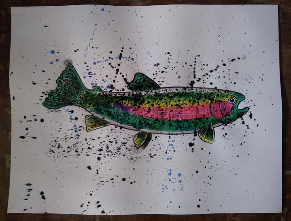 Original Big Rainbow Trout - 18x24