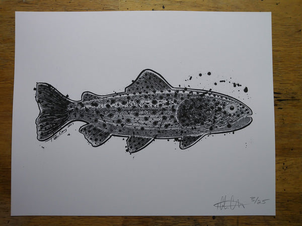 Black & White Trout Print - 11x14 - Limited Edition