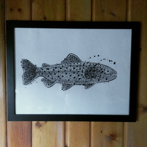 Original Big Trout Pen & Ink Drawing - 18x24 - Framed