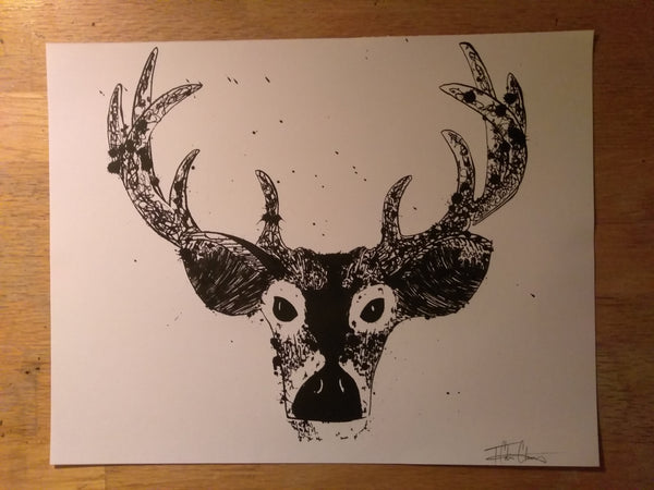 Silkscreened Buck Deer Print - 11x14
