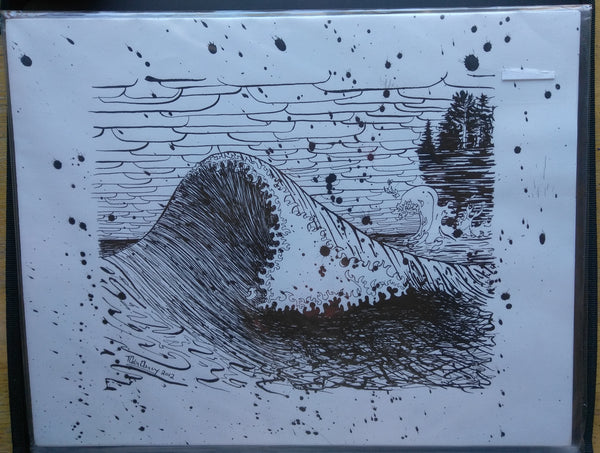 Original November Gale Wave on Lake Superior Pen and Ink Drawing - 11x14