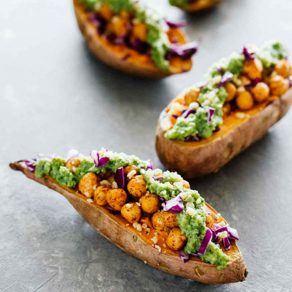 Healthy Baked Sweet Potatoes w/ Chickpeas & Broccoli Pesto