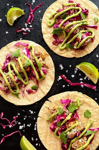 Crispy Cauliflower Tacos With Slaw & Avo Cream