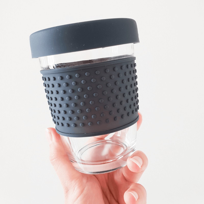 Eco Glass Travel Coffee Mug, Grey - Unique Muscle