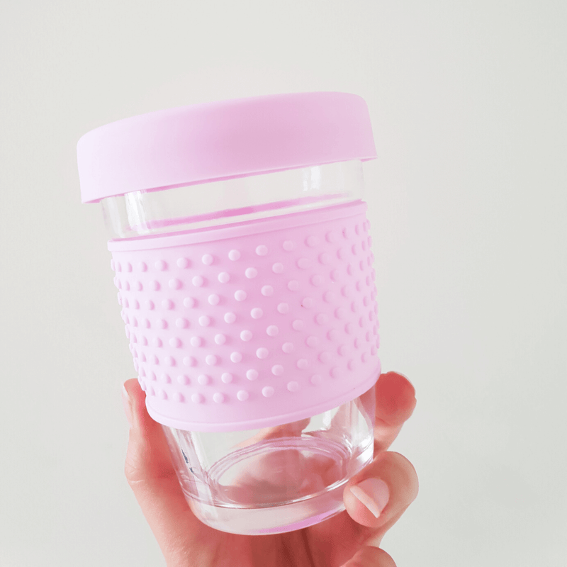 Eco Glass Travel Coffee Mug, Pink - Unique Muscle