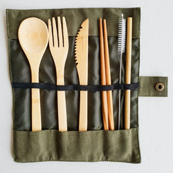 Eco-Friendly Bamboo Cutlery Travel Set – 7 pieces