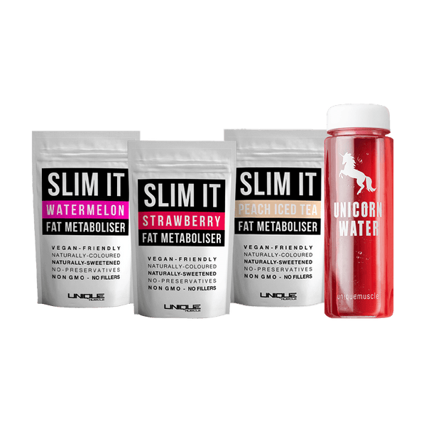 Slim It Fat Metaboliser Pack, 3 Delicious Flavours + Unicorn Water bottle - Unique Muscle