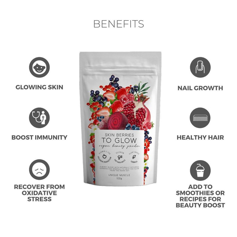Skin Berries To Glow - Supplements for Skin, Hair & Nails - Unique Muscle