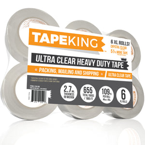 Tape King Crystal Clear XL Packing Tape Refill 6 Rolls - Ultra Clear, Heavy Duty Packaging, Shipping, Sealing Cartons, 109 Yards per roll