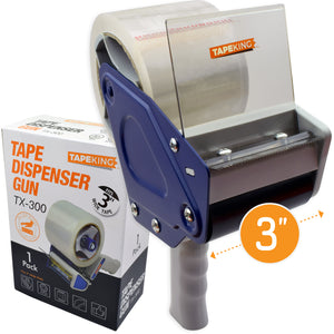 Tape King TX300 3 Inch Wide Packing Tape Dispenser Gun - Plus 1 Free Roll of Packaging Tape