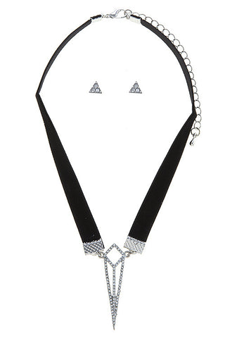 Edgy Geometric Choker and Earring Set