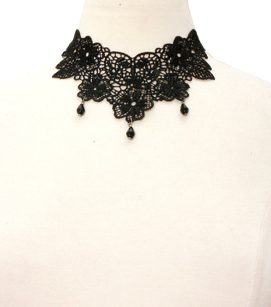 Lace Choker w/ Teardrop Pendants