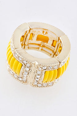 Yellow Crystal Stretch Ring