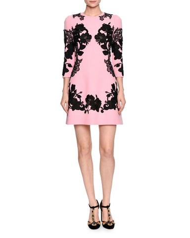 Dolce & Gabbana 3/4-Sleeve Mirrored Lace Dress, Pink/Black