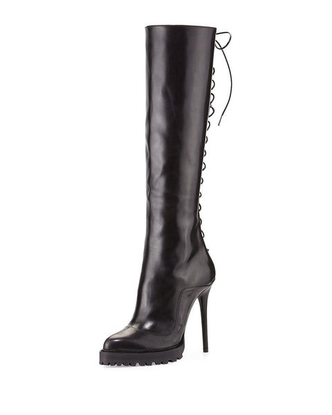Alexander McQueen Leather Lace-Back Boot, Black