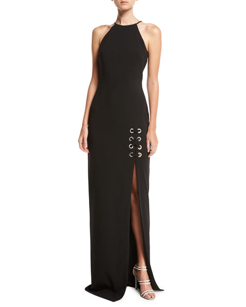 Badgley Mischka Sleeveless Laced Stretch Crepe Column Gown, Black
