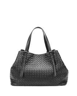 Bottega Veneta A-Shape Woven Tote Bag, Black