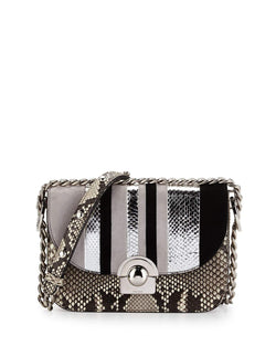 Prada Python/Suede Striped Shoulder Bag, Natural/White/Black (Roccia+Nube+Nero)