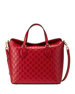 Gucci Guccissima Leather Top-Handle Bag, Red