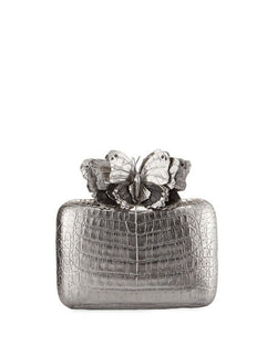 Butterfly Crocodile Box Clutch Bag, Anthracite/Multi