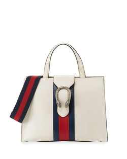 Gucci Dionysus Medium Web-Stripe Top-Handle Bag, White