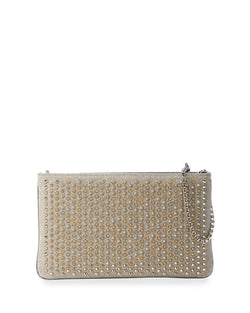 Christian Louboutin Loubiposh Spiked Clutch Bag, Silver/Multi