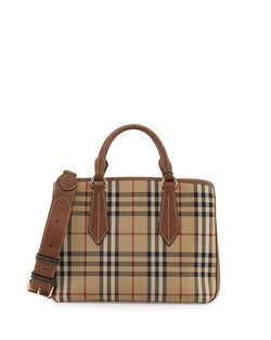 Burberry Ballingdon Medium House Check Tote Bag, Honey/Tan