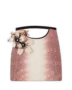 Lizard Medium Floral Top-Handle Tote Bag