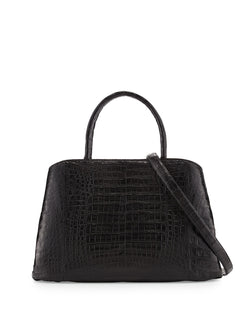 Nancy Gonzalez Crocodile Large Center-Zip Tote Bag, Black Matte