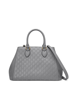 Gucci Gucci Signature Top-Handle Tote Bag Medium Gray